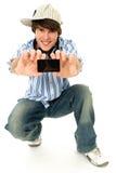 Jeune homme avec le joueur mp3 photo stock