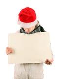 Jeune homme avec le panneau blanc Photographie stock libre de droits