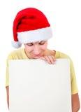 Jeune homme avec le panneau blanc Image stock