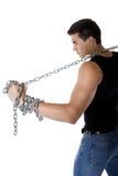 Jeune homme avec un réseau en métal Photos libres de droits
