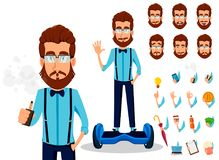 Jeune homme barbu de hippie en verres illustration de vecteur