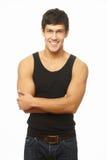 Jeune homme beau avec la pose grande de physique Photo libre de droits