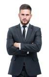 Jeune homme beau d'affaires d'isolement sur le blanc Image libre de droits