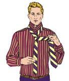 Jeune homme blond dans le lien rouge de chemise rayée un lien, illustration de vecteur illustration de vecteur