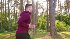 Jeune homme courant dans la forêt photographie stock libre de droits