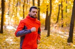 Jeune homme courant sur Sunny Trail dans bel Autumn Oak Forest Photos stock