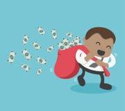 Jeune homme d'affaires africain heureux avec porter beaucoup d'argent illustration de vecteur