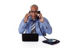 Jeune homme d'affaires afro-américain, fâché Photo stock