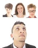 Jeune homme d'affaires avec des amis d'isolement Photo libre de droits