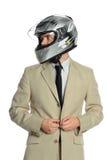 Jeune homme d'affaires avec emballer le casque Images stock