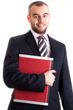 Jeune homme d'affaires avec l'ordinateur portatif d'isolement sur le blanc Image libre de droits