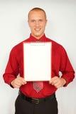 Jeune homme d'affaires avec la carte de visite professionnelle de visite Photos stock