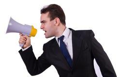Jeune homme d'affaires avec le haut-parleur Photographie stock libre de droits