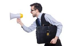 Jeune homme d'affaires avec le haut-parleur Photographie stock