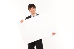 Jeune homme d'affaires avec le panneau. Photos libres de droits