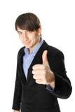 Jeune homme d'affaires avec le pouce d'isolement sur le fond blanc Images libres de droits