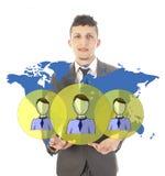 Jeune homme d'affaires avec les amis mondiaux virtuels d'isolement Image stock