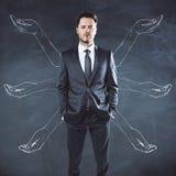Jeune homme d'affaires avec les mains tirées photo libre de droits