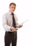 Jeune homme d'affaires avec une main Photo libre de droits