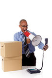 Jeune homme d'affaires d'Afro-américain, hurlant Photographie stock libre de droits