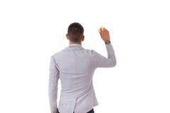 Jeune homme d'affaires d'afro-américain tenant une éponge nettoyant a Photographie stock libre de droits