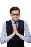 Jeune homme d'affaires d'isolement sur le blanc Images stock