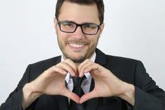 Jeune homme d'affaires dans l'amour Photographie stock