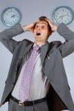 Jeune homme d'affaires dans la panique Photo stock