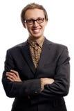 Jeune homme d'affaires dans le procès avec la cuvette Image stock