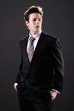 Jeune homme d'affaires dans penser de procès Images libres de droits