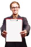 Jeune homme d'affaires de beauté avec la planchette Photos libres de droits