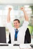 Jeune homme d'affaires enthousiaste Photo stock