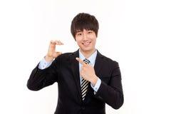 Jeune homme d'affaires et carte vide Photo libre de droits