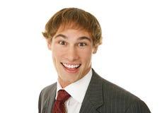 Jeune homme d'affaires excité Images stock