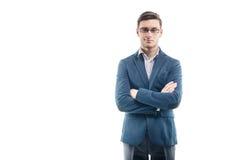 Jeune homme d'affaires fort dans le costume à la mode images stock