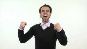 Jeune homme d'affaires gai banque de vidéos