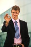 Jeune homme d'affaires heureux Photos libres de droits