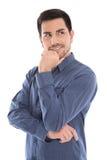 Jeune homme d'affaires heureux - portrait d'isolement sur le fond blanc. photographie stock libre de droits