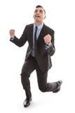 Jeune homme d'affaires heureux réussi - d'isolement - lien et costume - e photographie stock