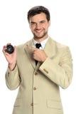 Jeune homme d'affaires Holding Compass Photo stock