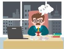 Jeune homme d'affaires masculin d'homme d'affaires de type s'asseyant dans le bureau au travail illustration stock