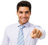 Jeune homme d'affaires Pointing At You Photographie stock