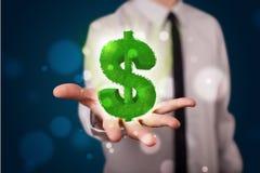 Jeune homme d'affaires présent le symbole dollar rougeoyant vert Photo libre de droits