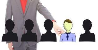 Jeune homme d'affaires sélectionnant les amis virtuels d'isolement Image stock