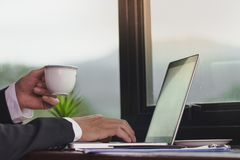 Jeune homme d'affaires tenant la tasse de café tout en travaillant sur l'ordinateur portable photographie stock libre de droits
