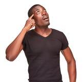 Jeune homme d'africain noir pensant et se rappelant Images libres de droits
