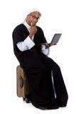 Jeune homme d'Afro-américain, ordinateur portatif de cheik Photographie stock