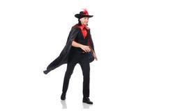Jeune homme dans le manteau de carnaval d'isolement sur le blanc photo stock