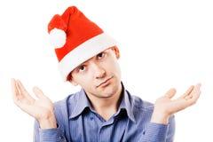 Jeune homme dans un chapeau de Santa Image stock