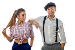 Jeune homme dans un chapeau et une femme en bref Images libres de droits